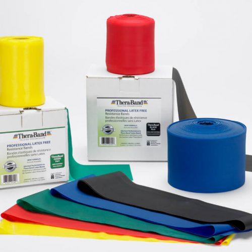 Theraband elastikker i blå, rød, gul, sort og grøn